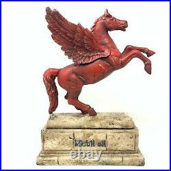 Mobil Oil Pegasus Flying Horse Statue, Cast Iron, Antique Finish, Bookend, Decor
