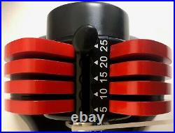 Mtrendy 5-25 lbs adjustable Dumbbell Red Single or Pair Weight Workout Exercise