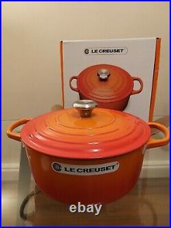 NEW IN BOX Le Creuset Cast Iron Round Casserole Pot, 26cm, Volcanic Orange