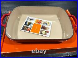 NIB LE CREUSET CERISE RED SIGNATURE CAST IRON ROASTER PAN With LID 3 QT RARE