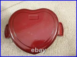 New Le Creuset Burgundy Cast Iron Heart Dutch Oven/Disk 1-1/8 qt
