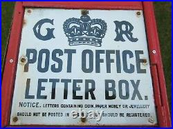 Original George V Cast Iron Front Post Office Letter Box with GR Enamel Sign VGC