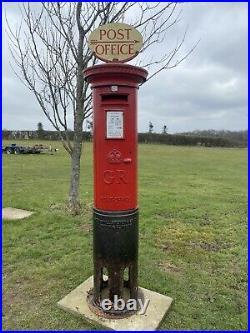 Original Red Cast Iron George 5th Pillar Box Enamel Sign Post Box Rare! 1910