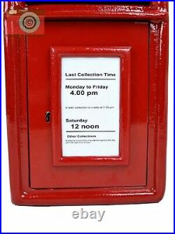 POSTBOX LETTER BOX. CAST IRON. BRIGHT RED. Gold Letters, Lockable, Two Keys