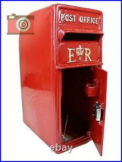 POSTBOX LETTER BOX. CAST IRON. BRIGHT RED. Gold Letters, Lockable, Two Keys. ER