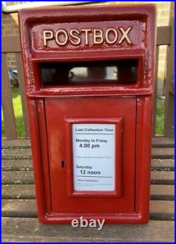 Postbox Letter Post Box Cast Iron Post Office Red Small Rear/Wall Mount