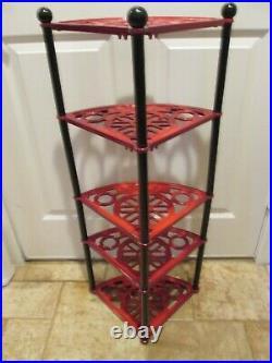 Rare Htf Le Creuset Enamel Cast Iron Pot Stand 5tier Ombre Cerise Red Excellent