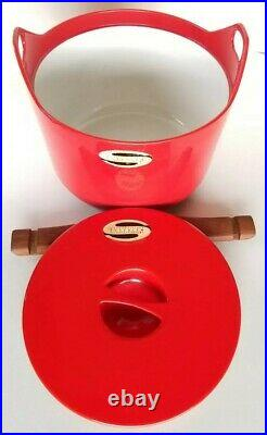 Rare Mid Century W. Rosenlew Finland Red Cast Iron Lidded Pot By Timo Sarpaneva