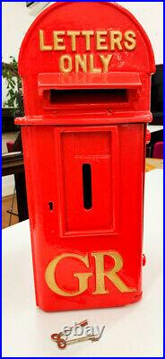 Red Post Box Original Antique Letter British Gold GR Cast Iron George V Lock