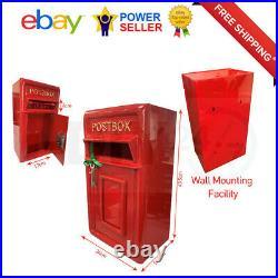 Rolson Wall Mounting Cast Iron Post Box Postal Box Red British Mailbox