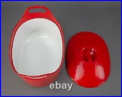 Rosenlew Finland Timo Sarpaneva Vintage Mid Century Red Enamel Cast Iron Pot
