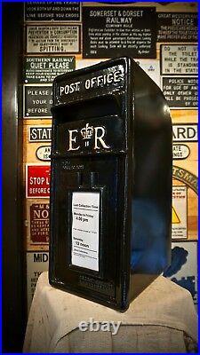 Royal Mail Cast Iron ER Post Box Pillar Red Black White Letterbox Powder Coated