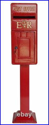 Royal Mail Cast Iron ER Post Box Pillar Red White Letterbox Powder Coated