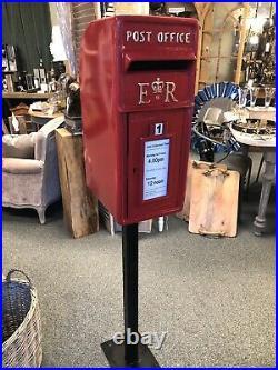 Royal Mail Post Box Cast Iron Post Office Box ER Red British Post box