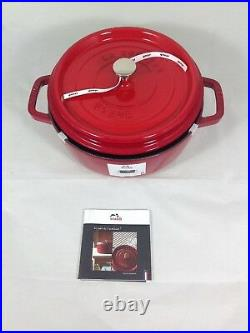 Staub 1112606 4-qt Cast Iron Shallow Wide Round Cocotte in Cherry