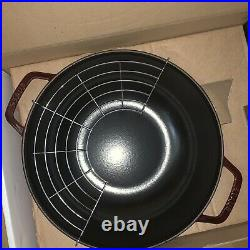 Staub 12 inch Enameled Perfect Pan Wok w Glass Lid 405113450 Grenadine NIB