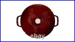 Staub 24cm Round Cast Iron Rooster Cocotte Grenadine + Zwilling steel Soap