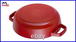 Staub 24cm Round Cast Iron Sauté Pan WithLid Braiser, Cherry, 12612406 RRP £200
