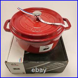 Staub 4QT Round Dutch Oven Enameled cast iron La Cocotte Cherry Red Made France