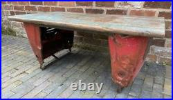 Upcycled Coffee Table Vintage Tractor Parts Reclaimed Wood top