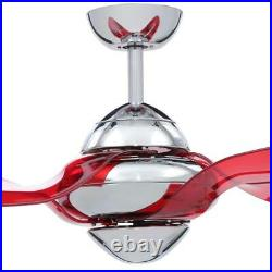 VENTO Clover 54 in. Indoor Chrome Ceiling Fan with 3 Translucent Red Blades