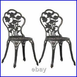 VidaXL 2x Bistro Chairs Bronze Cast Aluminium Outdoor Garden Dining Chair