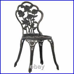 VidaXL 3 Piece Bistro Set Cast Aluminium Outdoor Balcony Patio Table Chair
