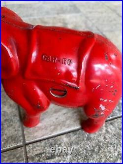 Vintage 1940s Red Cast Iron Mechanical Elephant Coin Bank Gar-Ru