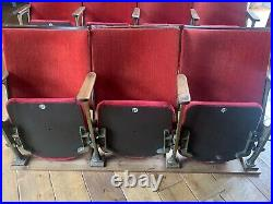 Vintage Cinema Seats X 7 (two rows) wooden with red upholstery & cast iron frame