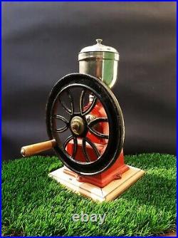 Vintage ELMA Red Cast-Iron Hand Crank Coffee Grinder