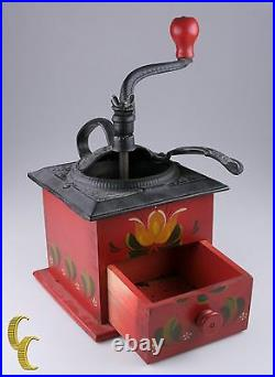 Vintage Hand Painted Wood/Cast Iron Coffee Grinder with Red Floral Design