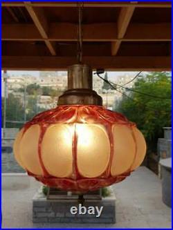 Vintage Italian Ruby Hand Blown Glass Crystal Globe Chandelier Fixture Swag Lamp
