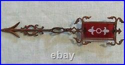 Vintage Kretzer Lightning Rod Arrow Red Glass Tail Weathervane Nice