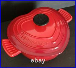 Vintage LE CREUSET Red Heart Cocotte Cast Iron Dutch Oven 2L Cerise Red UNUSED