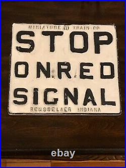 Vintage Stop On Red Signal Rail Road Sign Cast-Iron Rensselaer Indiana