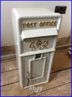 Vintage Style White & Gold Cast Iron G R Royal Mail Post Office Box Wedding Box