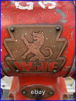 Vintage Wolf Cast Iron Free Standing Block Bench Grinder 1960s