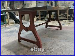 Vintage industrial cast iron DiningTable legs machine stand Red oxide primed