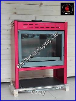 Wood Burning Cast Iron Stove RED Fireplace Log Burner Woodburning Stove 14-20 kW