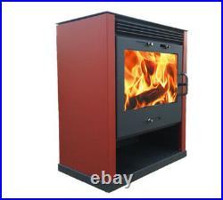 Wood Burning Multi-Fuel Ruben Red 16kw Burner Contemporary Modern Stove