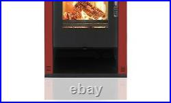 Wood Burning Stove Fireplace Heating Stoves Modern Verso Theia Red 11kw. A+